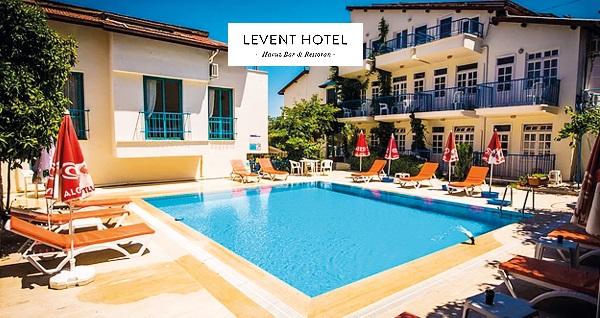 Levent Hotel Fethiye'de havuz manzaralı odalarda kahvaltı dahil çift kişilik 1 gece konaklama 179 TL'den başlayan fiyatlarla! Fırsatın geçerlilik tarihi için DETAYLAR bölümünü inceleyiniz.