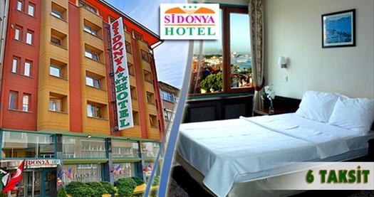 Kadıköy Sidonya Hotel'de kahvaltı dahil çift kişilik 1 gece konaklama keyfi 139 TL'den başlayan fiyatlarla! 29 Aralık 2014 tarihine kadar, haftanın her günü geçerlidir. Fırsata, çift kişilik 1,2 veya 3 gecelik konaklama ve kahvaltı dahildir.