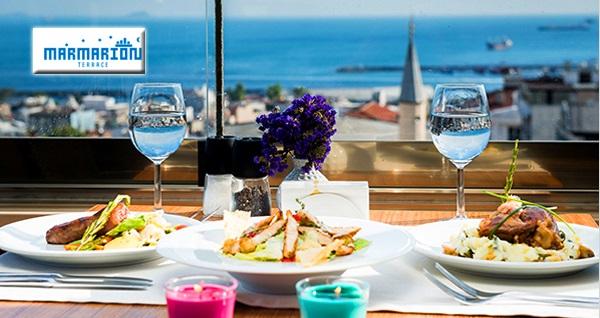 Marmarion Teras'ta akşam yemeği menüsü 104,90 TL'den başlayan fiyatlarla! Fırsatın geçerlilik tarihi için DETAYLAR bölümünü inceleyiniz.