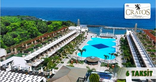 """5 yıldızlı Girne Cratos Premium Hotel'de Pegasus ile ULAŞIM DAHİL kişi başı TAM PANSİYON PLUS konaklama 759 TL'den başlayan fiyatlarla! Fırsatın geçerlilik tarihi için, DETAYLAR bölümünü inceleyiniz. FARKLI FİYATLARDAKİ OPSİYONLAR İÇİN """"HEMEN AL""""A TIKLAYIN."""
