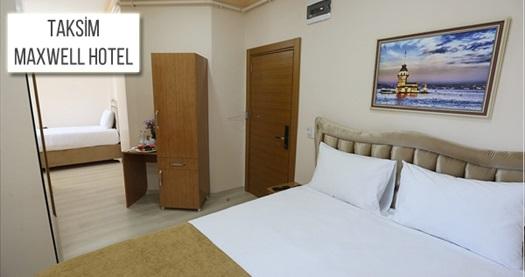Taksim Maxwell Hotel'de çift kişilik 1 gece konaklama seçenekleri 129 TL'den başlayan fiyatlarla! Fırsatın geçerlilik tarihi için DETAYLAR bölümünü inceleyiniz.
