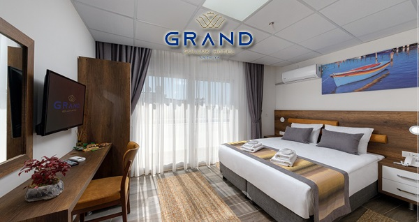 Antalya Grand Güllük Hotel'de kahvaltı dahil çift kişilik kahvaltı dahil konaklama 170 TL! Fırsatın geçerlilik tarihi için DETAYLAR bölümünü inceleyiniz.