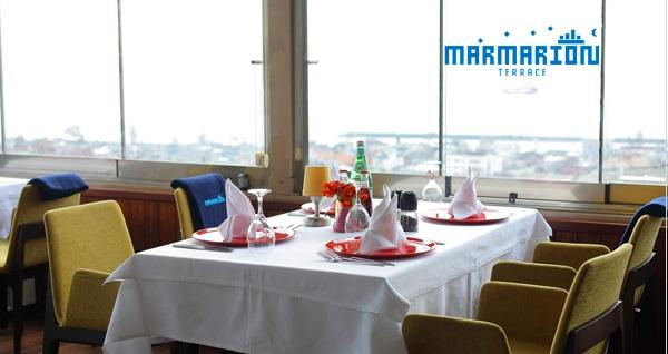 Marmarion Teras'ta birbirinden farklı lezzetlerle dolu yemek menüleri 34,90 TL'den başlayan fiyatlarla! Fırsatın geçerlilik tarihi için DETAYLAR bölümünü inceleyiniz.