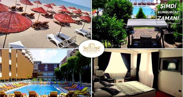 Denize Sıfır Kumburgaz Grand Gold Hotel'de aynı anda açık havuz ve plaj kullanım günübirlik paketi kişi başı 49 TL'den başlayan fiyatlarla! Fırsatın geçerlilik tarihi için DETAYLAR bölümünü inceleyiniz.