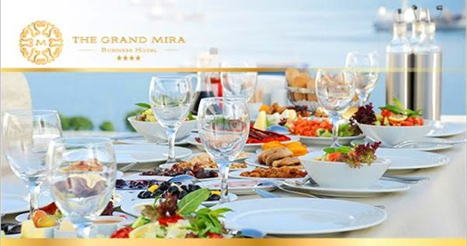 Kartal The Grand Mira Business Hotel'de Adalar manzarasına nazır müzik eşliğinde açık büfe brunch 55 TL yerine 24,90 TL! 18.9.2016 Pazar gününden itibaren 30.11.2016 tarihine kadar her Pazar 10.00 - 14.00 saatleri arasında geçerlidir.