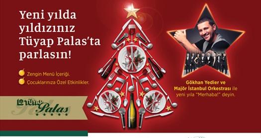 Yeni yılda yıldızınız Tüyap Palas'ta parlasın! Kişi başı yılbaşı programı ya da çift kişilik konaklamalı yılbaşı program paketi seçenekleri 189 TL'den başlayan fiyatlarla! YILBAŞINA ÖZEL; 31 Aralık 2017 gecesi geçerlidir.