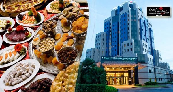 Şişli Grand Cevahir Hotel'de eşsiz lezzetlerden oluşan açık büfe iftar menüsü 99 TL! Bu fırsat 6 Mayıs - 3 Haziran 2019 tarihleri arasında, iftar saatinde geçerlidir.