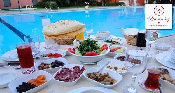 Bostancı Yadinbey Restaurant'ta havuz başında iftar menüsü 75 TL'den başlayan fiyatlarla! Bu fırsat 6 Mayıs - 3 Haziran 2019 tarihleri arasında, iftar saatinde geçerlidir.