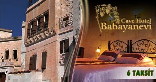 Bir düş oteli Kapadokya Babayan Evi Cave Hotel'de kahvaltı dahil çift kişilik 1 gece konaklama keyfi 99 TL'den başlayan fiyatlarla! Sevgililer Günü ve özel günler DAHİL; 30 Haziran 2015 tarihine kadar haftanın her günü geçerlidir. Fırsata, çift kişilik 1 gece konaklama ve kahvaltı dahildir.