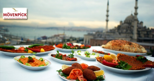 Mövenpick Hotel Istanbul Golden Horn'da açık büfe iftar ziyafeti 99 TL yerine 59 TL! 18 Haziran - 16 Temmuz 2015 tarihleri arasında, iftar saatinde geçerlidir.