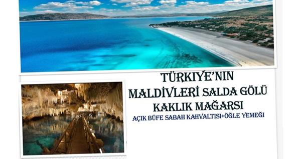 """Her hafta sonu İzmir çıkışlı günübirlik açık büfe kahvaltı ve öğle yemeği dahil """"Salda Gölü ve Kaklık Mağarası Turu"""" kişi başı 150 TL! Fırsatın geçerlilik tarihi için, DETAYLAR bölümünü inceleyiniz."""