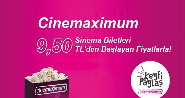 Tüm Cinemaximum'larda geçerli indirimli sinema biletleri 9,50 TL'den başlayan fiyatlarla! Fırsatın geçerlilik tarihi için, DETAYLAR bölümünü inceleyiniz.