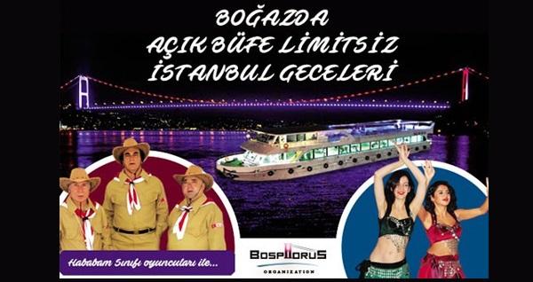 Bosphorus Organization'dan açık büfe limitsiz İstanbul Geceleri 110 TL'den başlayan fiyatlarla! Fırsatın geçerlilik tarihi için DETAYLAR bölümünü inceleyiniz.