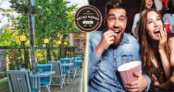 Kadıköy Beyaz Konak'ta çift kişilik yemek menüleri eşliğinde sinema paketi 69,90 TL'den başlayan fiyatlarla! Fırsatın geçerlilik tarihi için DETAYLAR bölümünü inceleyiniz.