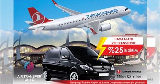 Türk Hava Yolları Miles and Smiles program ortağı olan Air Transfer Lines'tan İstanbul Havalimanı ve Sabiha Gökçen Havalimanı'ndan Anadolu ve Avrupa Yakası'na VIP transfer hizmeti 225 TL! Fırsatın geçerlilik tarihi için, DETAYLAR bölümünü inceleyiniz.