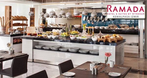 Ramada Hotel & Suites by Wyndham Kemalpaşa İzmir'de Cumartesi ve Pazar günlerine özel açık büfe kahvaltı (kişi başı) 60 TL yerine 39,90 TL! Fırsatın geçerlilik tarihi için, DETAYLAR bölümünü inceleyiniz.