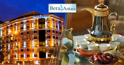 Çankaya Bera Ankara Otel'de açık büfe iftar menüsü 59,90 TL! 6 Mayıs – 3 Haziran 2019 tarihleri arası, iftar saatinde geçerlidir.