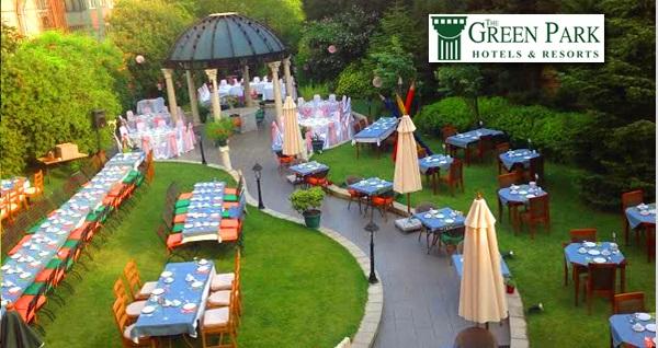 The Green Park Hotel Merter'in yemyeşil bahçesinde doyumsuz lezzetlerden oluşan açık büfe iftar menüsü 89 TL! Bu fırsat 6 Mayıs - 3 Haziran 2019 tarihleri arasında, iftar saatinde geçerlidir.
