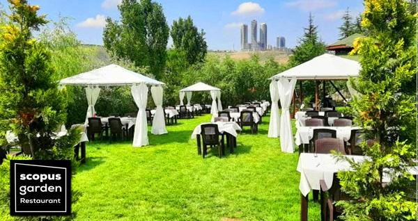 Scopus Garden Restaurant'ta yeşillikler içerisinde enfes lezzetlerden oluşan çift kişilik akşam yemeği menüsü 111 TL! Fırsatın geçerlilik tarihi için DETAYLAR bölümünü inceleyiniz.