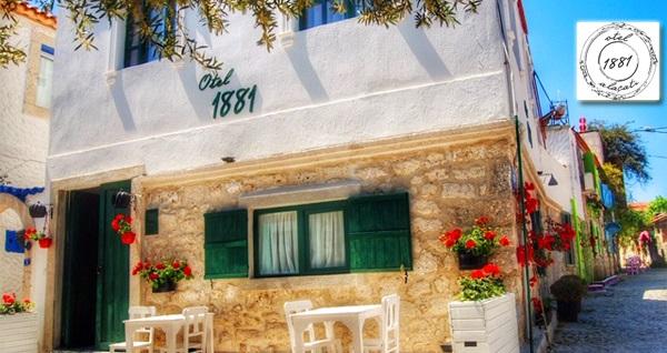 Alaçatı 1881 Otel'de 2 ve 3 kişi seçenekleri ile 1 gece konaklama keyfi 150 TL'den başlayan fiyatlarla! Fırsatın geçerlilik tarihi için, DETAYLAR bölümünü inceleyiniz.