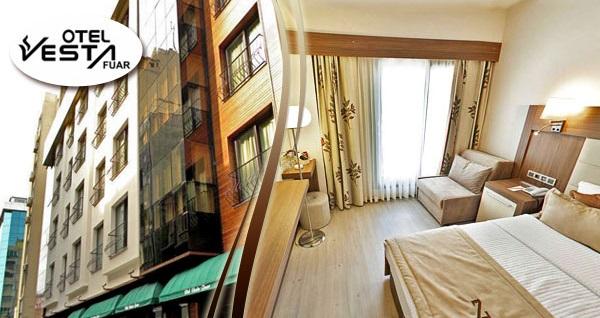 Konak'ta keyif ve konforun adresi Vesta Fuar Hotel'de kahvaltı dahil çift kişilik 1 gece konaklama 195 TL! Fırsatın geçerlilik tarihi için DETAYLAR bölümünü inceleyiniz.
