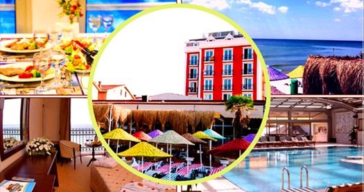 Denize sıfır Kumburgaz Blue World Hotel'de iki kişilik konaklama, kahvaltı, özel plaj ve havuz kullanımı 300 TL yerine 187 TL! Fırsatın geçerlilik tarihi için DETAYLAR bölümünü inceleyiniz.