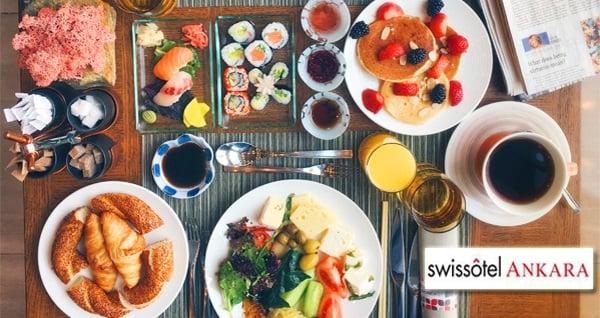 Swissotel Ankara'da her Pazar geçerli zengin açık büfe brunch keyfi 109 TL yerine 89 TL! Fırsatın geçerlilik tarihi için, DETAYLAR bölümünü inceleyiniz.