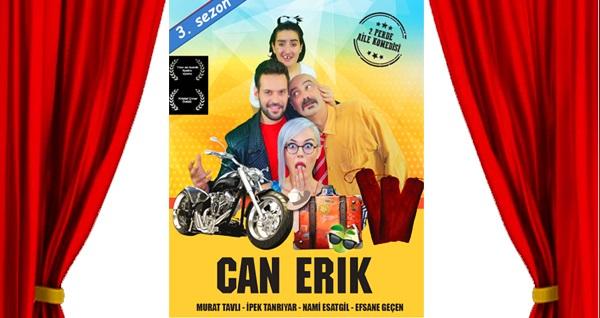 """Muhteşem bir aile komedisi olan 'Can Erik' oyununa biletler 56 TL yerine 34 TL! Tarih ve konum seçimi yapmak için """"Hemen Al"""" butonuna tıklayınız."""