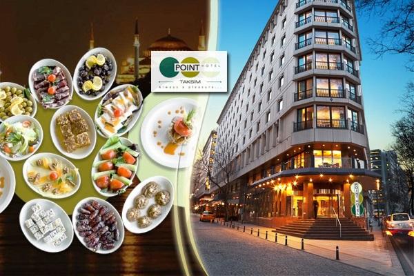 Point Hotel Taksim'in Boğaz manzaralı çatı katında açık büfe iftar menüsü 69 TL'den başlayan fiyatlarla! 16 Mayıs 2018-14 Haziran 2018 tarihleri arasında, iftar saatinde geçerlidir.