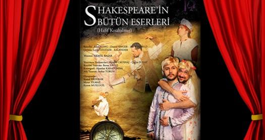 """Londra'da 10 sezon kapalı gişe oynayan müthiş komedi """"Shakespeare'in Bütün Eserleri - Hafif Kısaltılmış"""" için biletler 50 TL yerine 20 TL! 13, 14, 20, 29 Eylül 2016 tarihlerinde gerçekleşecek gösterimlerde geçerlidir. Tarih ve konum seçimi yapmak için """"Hemen Al"""" butonuna tıklayınız."""
