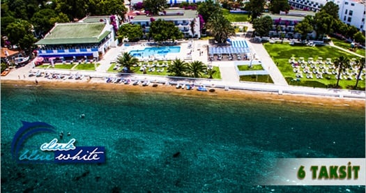 """Bodrum Club Blue White Otel'de ULAŞIM DAHİL kişi başı HER ŞEY DAHİL konaklama seçenekleri 319 TL'den başlayan fiyatlarla! 25 Eylül-31 Ekim 2016 tarihleri arasında geçerlidir. FARKLI FİYATLARDAKİ OPSİYONLAR İÇİN """"HEMEN AL""""A TIKLAYIN."""