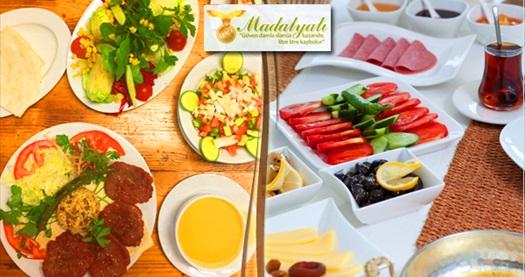 Madalyalı Restaurant'ta serpme kahvaltı ve köfte menüsü 26 TL'den başlayan fiyatlarla! Fırsatın geçerlilik tarihi için DETAYLAR bölümünü inceleyiniz.