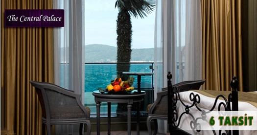 Tarabya The Central Palace Bosphorus'ta kahvaltı dahil çift kişilik 1 gece konaklama keyfi 199 TL'den başlayan fiyatlarla! 26 Aralık 2014 – 3 Ocak 2015 tarih alığı ve yılbaşı dönemi HARİÇ; 31 Mart 2015 tarihine kadar, haftanın her günü geçerlidir. Fırsata, çift kişilik 1 gece konaklama ve kahvaltı dahildir.
