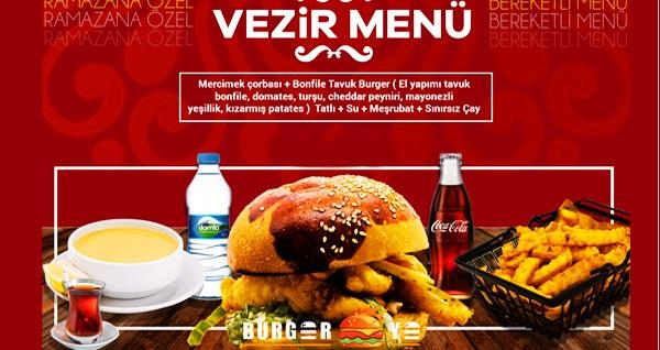 Burger Ye 6 şubesinde geçerli iftar menüleri 29,90 TL'den başlayan fiyatlarla! Bu fırsat 6 Mayıs - 3 Haziran 2019 tarihleri arasında, iftar saatinde geçerlidir.