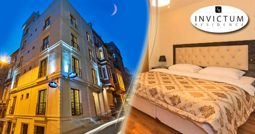 Beyoğlu'nda evinizde hissedeceğiniz adres Invictum Residence'da kahvaltı dahil çift kişilik 1 gece konaklama 179 TL'den başlayan fiyatlarla! Fırsatın geçerlilik tarihi için, DETAYLAR bölümünü inceleyiniz.