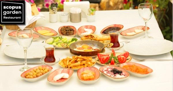 Scopus Garden Restaurant'ta yeşillikler içerisinde enfes lezzetlerden oluşan köy kahvaltısı 39,90 TL! Fırsatın geçerlilik tarihi için DETAYLAR bölümünü inceleyiniz.