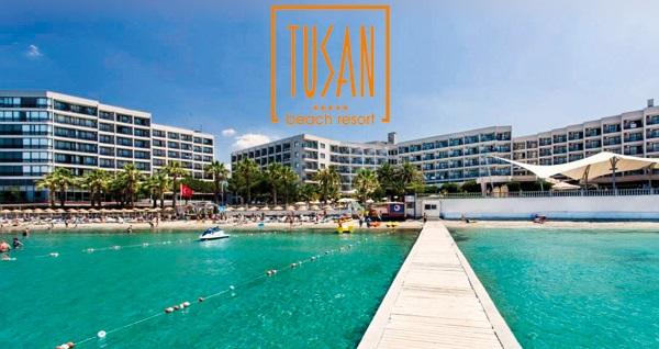 Kuşadası Tusan Beach Resort Hotel'de HER ŞEY DAHİL günübirlik tesis kullanımı kişi başı 300 TL'den başlayan fiyatlarla! Fırsatın geçerlilik tarihi için DETAYLAR bölümünü inceleyiniz.