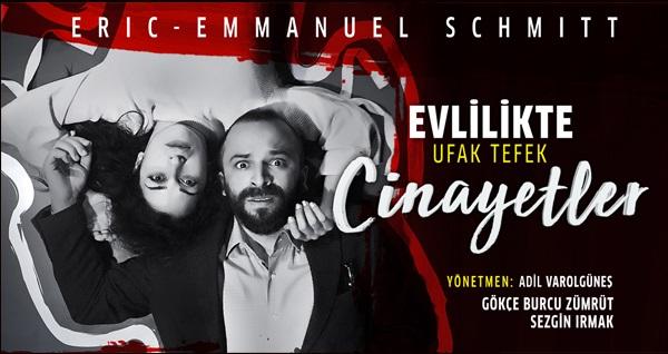 """Dünyaca ünlü, ödüllü yazar Eric - Emmanuel Schmitt'ten eşsiz bir tiyatro oyunu ''Evlilikte Ufak Tefek Cinayetler'' oyununa biletler 75 TL yerine 38 TL! Tarih ve konum seçimi yapmak için """"Hemen Al"""" butonuna tıklayınız."""