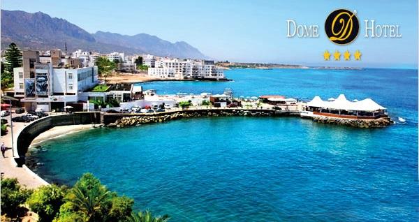 Girne Dome Hotel'de YARIM PANSİYON uçaklı konaklama paketleri kişi başı 889 TL'den başlayan fiyatlarla! Detaylı bilgi ve size en uygun fiyatların sunulması için hemen 0850 532 50 76 numaralı telefonu arayın!