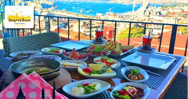 Seyri Cihan Cafe & Restaurant'ta İstanbul manzarasına nazır serpme kahvaltı kişi başı 23,90 TL! Fırsatın geçerlilik tarihi için DETAYLAR bölümünü inceleyiniz.