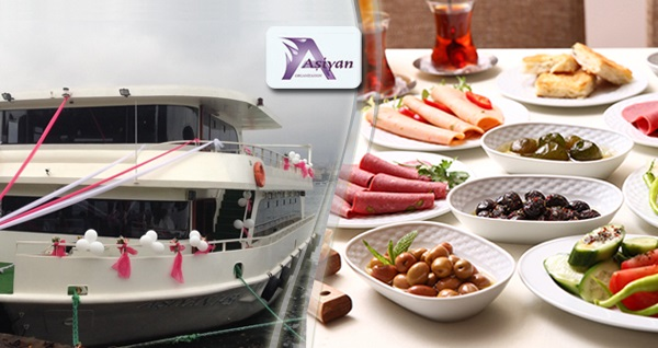 Aşiyan Organizasyon'dan Boğaz turu eşliğinde teknede açık büfe kahvaltı 90 TL yerine 49,90 TL! Fırsatın geçerlilik tarihi için DETAYLAR bölümünü inceleyiniz.