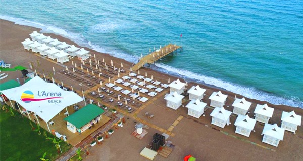 Antalya L'arena Beach'te 2 kişilik plaj girişi ve kahvaltı tabağı seçenekleri 39,90 TL'den başlayan fiyatlarla! Fırsatın geçerlilik tarihi için DETAYLAR bölümünü inceleyiniz.