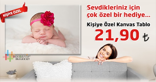 Fotoğrafını gönder tablon kapına gelsin! Dekoratif Market'ten kişiye özel kanvas tablolar 21,90 TL'den başlayan fiyatlarla! Farklı ebat seçenekleriyle tüm Türkiye'ye kargo hizmeti vardır.