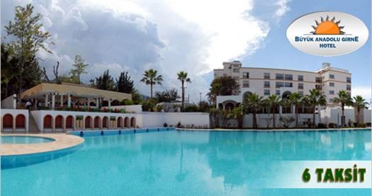 """Girne Büyük Anadolu Hotel'de Pegasus ile ULAŞIM DAHİL kişi başı YARIM PANSİYON konaklama keyfi 429 TL'den başlayan fiyatlarla! Bayram Dönemi HARİÇ, 31 Ekim 2016 tarihine kadar geçerlidir. FARKLI FİYATLARDAKİ OPSİYONLAR İÇİN """"HEMEN AL""""A TIKLAYIN."""