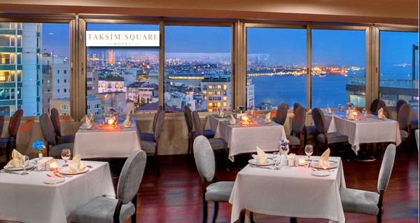 Taksim Square Hotel'de seçmeli iftar menüsü kişi başı 89 TL'den başlayan fiyatlarla! Bu fırsat 6 Mayıs - 3 Haziran 2019 tarihleri arasında, iftar saatinde geçerlidir.