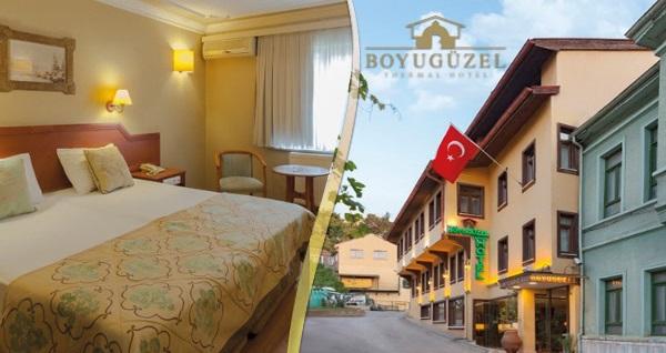 Çekirge Boyugüzel Termal Hotel'de açık büfe kahvaltı dahil çift kişilik 1 gece konaklama veya termal kullanımı seçeneği 189 TL'den başlayan fiyatlarla! Fırsatın geçerlilik tarihi için DETAYLAR bölümünü inceleyiniz.