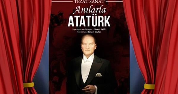 """'Anılarla Atatürk' tiyatro oyununa biletler 42 TL yerine 29 TL! Tarih ve konum seçimi yapmak için """"Hemen Al"""" butonuna tıklayınız."""