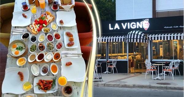 Güzelbahçe La Vigne Cafe'de enfes serpme kahvaltı keyfi kişi başı 26,90 TL! Fırsatın geçerlilik tarihi için DETAYLAR bölümünü inceleyiniz.