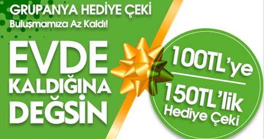Grupanya'dan Muhteşem Kampanya! 100 TL'ye 150 TL'lik Hediye Çeki! Fırsatın geçerlilik tarihi için DETAYLAR bölümünü inceleyiniz.