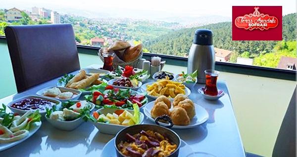 Teras Anadolu Sofrası'nda sınırsız çay eşliğinde serpme kahvaltı 55 TL! Fırsatın geçerlilik tarihi için DETAYLAR bölümünü inceleyiniz.